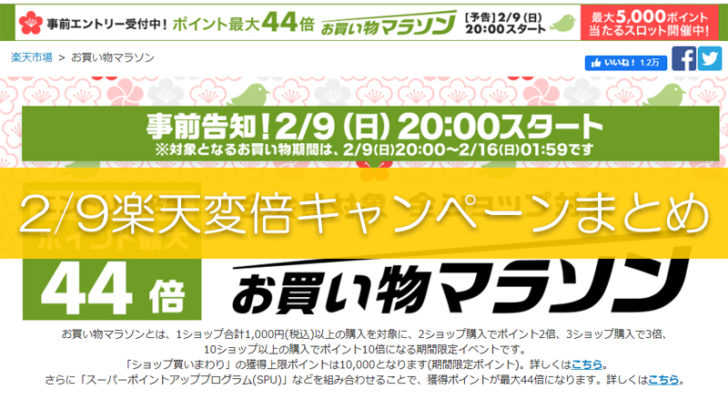 2月9日楽天お買い物マラソン