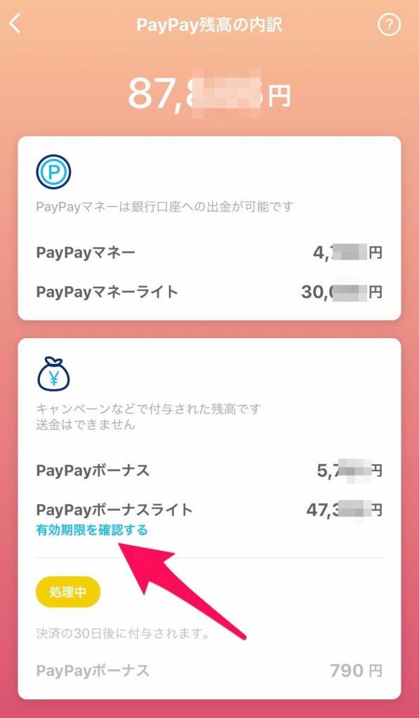 PayPay残高の内訳